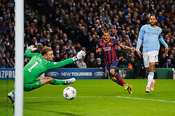 Barcelona Defender Daniel Alves (BRA) shoots wide past Man City Goalkeeper Joe Hart (ENG) - Photo mandatory by-line: Rogan Thomson/JMP - Tel: 07966 386802 - 18/02/2014 - SPORT - FOOTBALL - Etihad Stadium, Manchester - Manchester City v Barcelona - UEFA Champions League, Round of 16, First leg.