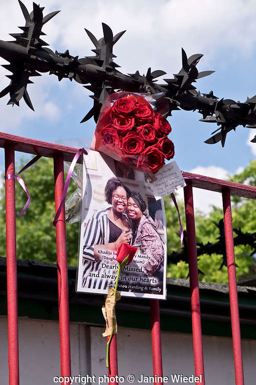 Tribute to Mary Mendy and her daughter Khadya who were both killed the fire that destroyed the 24-story Grenfell Tower in North Kensington, London on 14th June 2017.  The death toll officially at 75 but will no doubt rise to three figures.