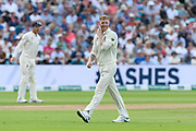 Ben Stokes of England smiles as he walks back to his mark to bowl during the International Test Match 2019 match between England and Australia at Edgbaston, Birmingham, United Kingdom on 3 August 2019.