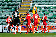 York City Goalkeeper Scott Flinders under pressure again during the Sky Bet League 2 match between Plymouth Argyle and York City at Home Park, Plymouth, England on 28 March 2016. Photo by Graham Hunt.