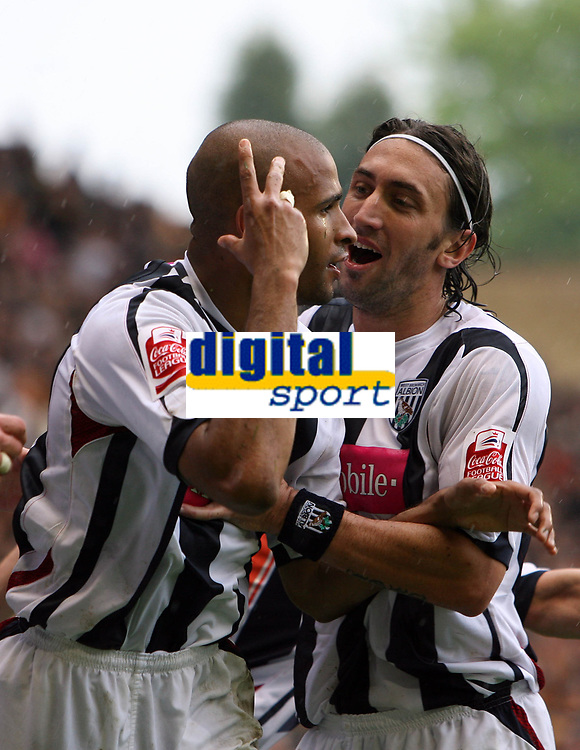 Photo: Rich Eaton.<br /> <br /> Wolverhampton Wanderers v West Bromwich Albion. Coca Cola Championship. Play off Semi Final, 1st Leg. 13/05/2007. West Broms Diomansy Kamara left celebrates scoring to make it 3-2 in the second half with Jonathan Greening right