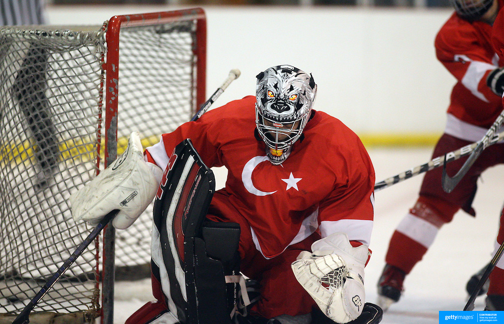 Goalkeeper Fikri Atali, Turkey, in action during the New Zealand V Turkey match during the 2012 IIHF Ice Hockey World Championships Division 3 held at Dunedin Ice Stadium. Dunedin, Otago, New Zealand. 22nd January 2012. Photo Tim Clayton