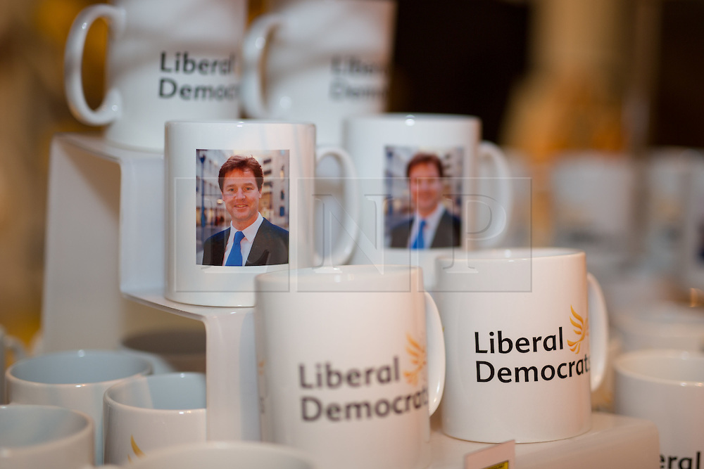 © Licensed to London News Pictures . 04/10/2014 . Glasgow , UK . Nick Clegg mugs for sale in the exhibition hall at the conference . The Liberal Democrat Party Conference 2014 at the Scottish Exhibition and Conference Centre in Glasgow . Photo credit : Joel Goodman/LNP