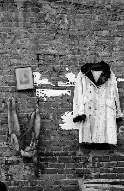 Flea market clothing and picture hanging on a brick wall in New York City