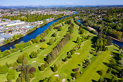 Aerial view of King James VI Golf Club golf course on Moncreiffe Island in River Tay, Perth, Scotland, UK