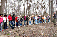 Outdoor facilitator John Betts of Vandalia (right) gets Girl Scouts ready for outdoor exercises during Program Aide (PA) training at the Girl Scouts Urban Campus in Dayton, Saturday, March 3, 2012.