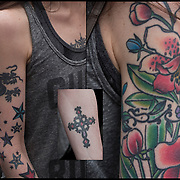 Flower tattpp sleeve on her shoulder and down her left arm.<br /> <br /> Tattoos are no longer just a male thing, young women are just as likely to get a tattoo as males. <br /> <br /> Body art or tattoos has entered the mainstream it is no longer considered a weird kind of subculture.<br /> <br /> &quot;According to a 2006 Pew survey, 40% of Americans between the ages of 26 and 40 have been tattooed&quot;.
