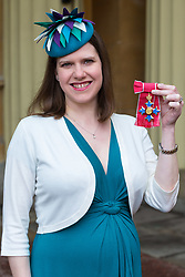 Joanne Swinson displays her CBE for political and public service, awarded by The Queen at an investiture ceremony at Buckingham Palace. London, March 15 2018.
