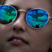 GAINESVILLE, FL - MARCH 10, 2015: Democratic presidential candidate Senator Bernie Sanders is reflected in a crowd member's sunglasses as he speaks at a campaign rally at the University of Florida in Gainesville, Florida. CREDIT: Sam Hodgson for The New York Times.
