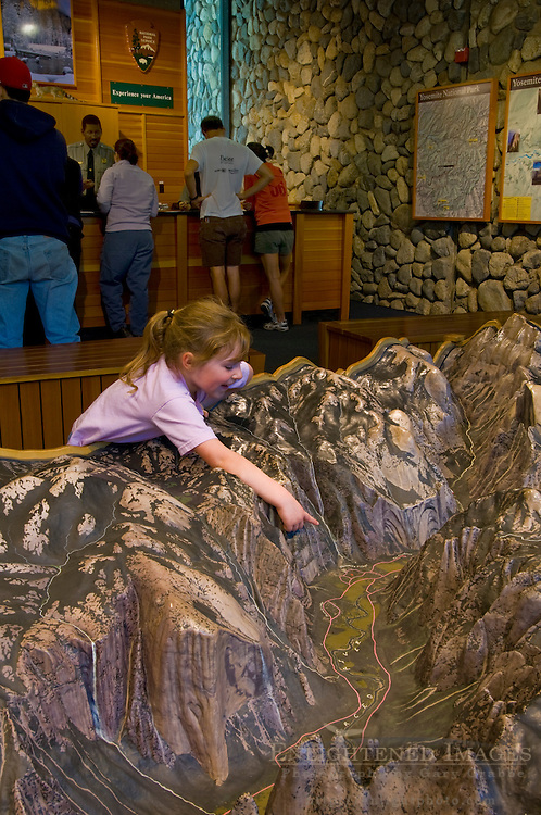 Scale topographic model of Yosemite Valley in the Visitor Center, Yosemite National Park, California