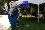 The Energy Hog taunts elementary school students at the Energy Fair at Ohio University on Tuesday, October 5, 2005.
