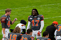 KELOWNA, BC - SEPTEMBER 22:  Liam Johnstone #40 and Miguel Wood #47 of Okanagan Sun stand on the sidelines against the Valley Huskers at the Apple Bowl on September 22, 2019 in Kelowna, Canada. (Photo by Marissa Baecker/Shoot the Breeze)