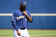 PHOENIX, AZ - MARCH 04:  Domingo Santana #16 of the Milwaukee Brewers warms up prior the spring training game against the Texas Rangers at Maryvale Baseball Park on March 4, 2017 in Phoenix, Arizona.  (Photo by Jennifer Stewart/Getty Images)