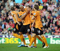 Britannia Stadium Stoke City v Wolverhampton Wanderers 31/10/09<br /> Jody Craddock  (Wolves) celebrates his  second goal with Chris Iwelumo <br /> Photo Roger Parker Fotosports International
