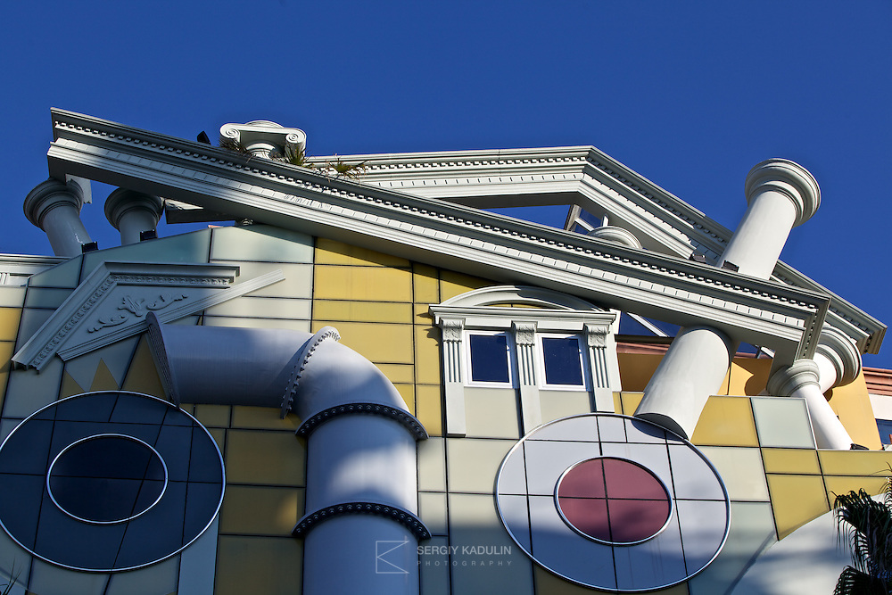 Architectural details of residential house located in Batumi, Georgia. Close-up shot shows modernist architectural decorations of the main front of the building.