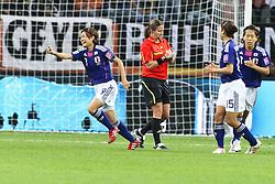 13.07.2011, Commerzbank Arena, Frankfurt, GER, FIFA Women Worldcup 2011, Halbfinale,  Japan (JPN) vs. Schweden (SWE), im Bild.Torjubel / Jubel  Nahomi Kawasumi (Japan) nach dem 1:1.. // during the FIFA Women´s Worldcup 2011, Semifinal, Japan vs Sweden on 2011/07/13, Commerzbank Arena, Frankfurt, Germany.   EXPA Pictures © 2011, PhotoCredit: EXPA/ nph/  Mueller       ****** out of GER / CRO  / BEL ******