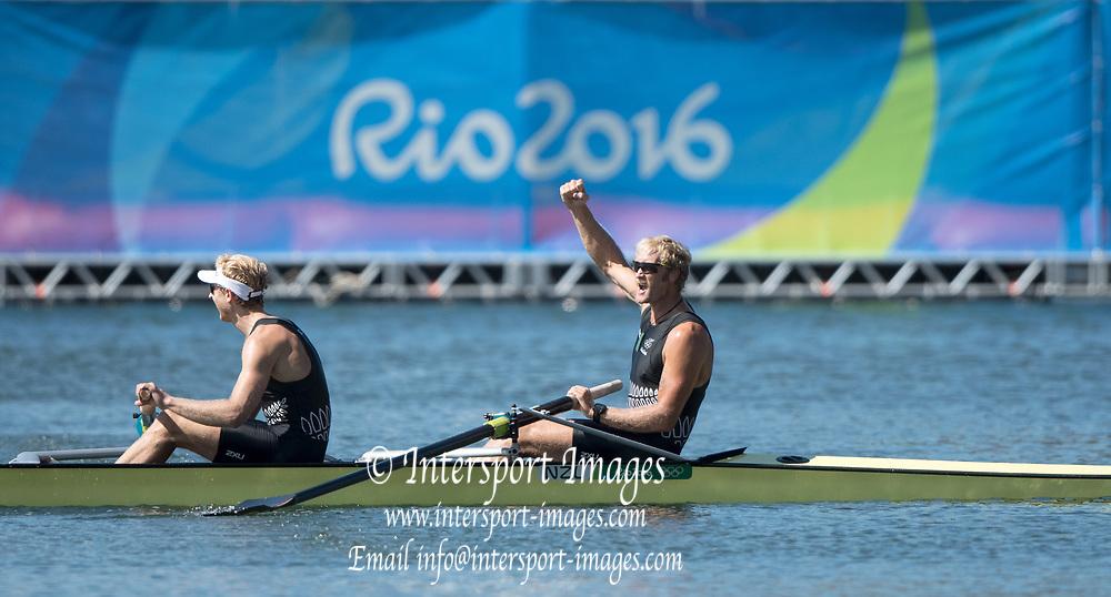 Rio de Janeiro. BRAZIL.  Gold Medalist. NZL M2-. Bow Eric MURRAY and Hamish BOND.  2016 Olympic Rowing Regatta. Lagoa Stadium,<br /> Copacabana,  &ldquo;Olympic Summer Games&rdquo;<br /> Rodrigo de Freitas Lagoon, Lagoa. Local Time 10:53:00  Thursday  11/08/2016 <br /> [Mandatory Credit; Peter SPURRIER/Intersport Images]