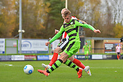 Forest Green Rovers Midfielder, Elliott Frear (11) crosses in to the box during the Vanarama National League match between Forest Green Rovers and Lincoln City at the New Lawn, Forest Green, United Kingdom on 19 November 2016. Photo by Adam Rivers.