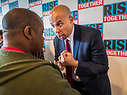 05 DECEMBER 2019 - DES MOINES, IOWA: US Senator CORY BOOKER (D-NJ) talks to voters at his rally after he finished his formal speech in Des Moines Friday. He talked about the need to reunify the country. Senator Booker is running to be the Democratic nominee for the US Presidency in 2020. Iowa hosts the first selection event of the presidential election season. The Iowa caucuses are February 3, 2020.       PHOTO BY JACK KURTZ