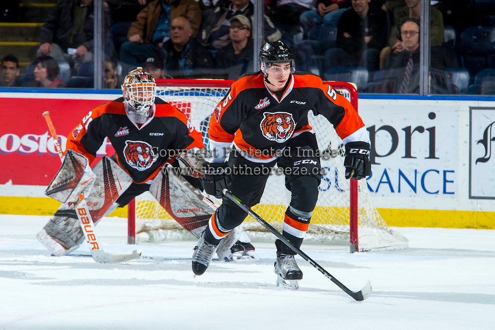 KELOWNA, CANADA - JANUARY 30: Kristians Rubins #5 of the Medicine Hat Tigers skates against the Kelowna Rockets on January 30, 2017 at Prospera Place in Kelowna, British Columbia, Canada.  (Photo by Marissa Baecker/Shoot the Breeze)  *** Local Caption ***