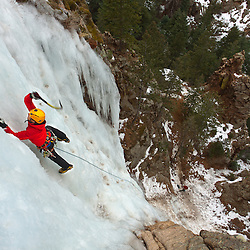 Trask Bradbury making easy work while ice climbing Hully Gully in Colorado Springs, Colorado