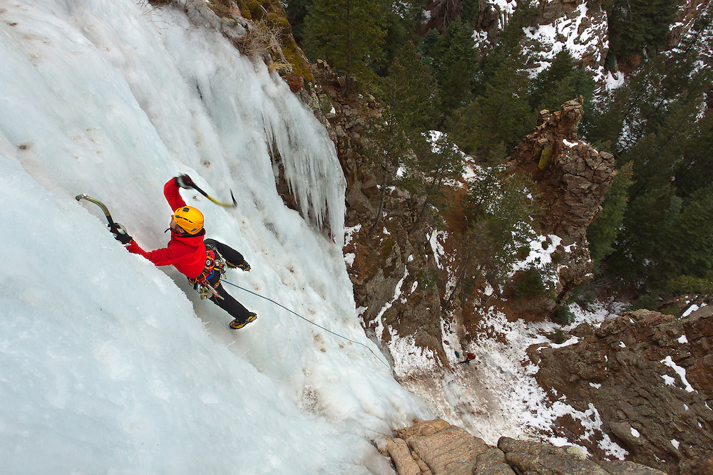 Trask Bradbury making easy work while ice climbing Hully Gully in Colorado Springs, Colorado