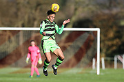 Forest Green Rovers Jordan Simpson(12) heads the ball during the The Central League match between Cheltenham Town Reserves and Forest Green Rovers Reserves at The Energy Check Training Ground, Cheltenham, United Kingdom on 28 November 2017. Photo by Shane Healey.