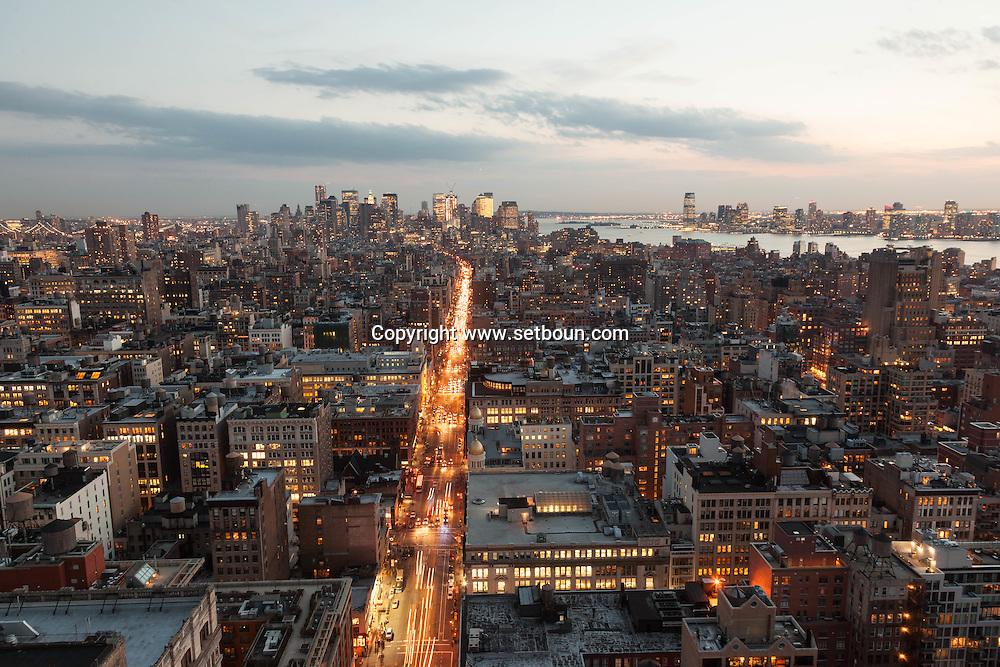 New York elevated view, cityscape of Manhattan lower Manhattan