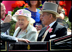 Image ©Licensed to i-Images Picture Agency. 18/06/2014. Ascot, United Kingdom. HM The Queen and The Duke of Edinburgh arrive for Day 2 of Royal Ascot at Ascot Racecourse. Picture by Andrew Parsons / i-Images
