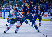 KELOWNA, CANADA - DECEMBER 27:  Leif Mattson #28 of the Kelowna Rockets and Luc Smith #24 of the Kamloops Blazers at the Kelowna Rockets game on December 27, 2017 at Prospera Place in Kelowna, British Columbia, Canada.  (Photo By Cindy Rogers/Nyasa Photography,  *** Local Caption ***