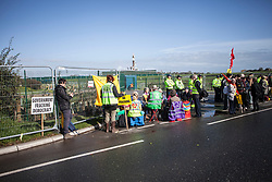 © Licensed to London News Pictures. 29/09/2017. Lancashire, UK.  Protesters block the entrance to Cuadrillas Hydraulic Fracturing site on Preston New Road, Lancashire. Over 100 protesters from all over the UK joined the on going anti-fracking protest on Preston New Road in Lancashire ahead of the Conservative Party Conference in Manchester. Photo credit: Steven Speed/LNP