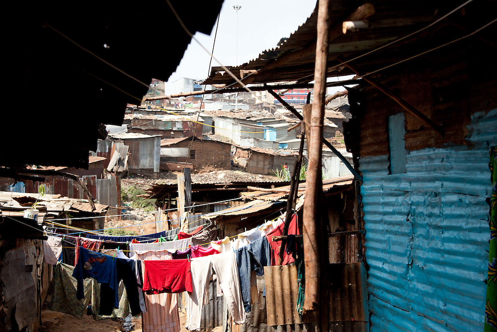 Clotheslines are woven between homes along the side streets of the Mathare Valley.