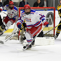 BUFFALO, NY - SEP 21,  2017: Ontario Junior Hockey League Governors Showcase game between the Aurora Tigers and Oakville Blades, Mathew Hayami #14 of the Oakville Blades skates after the puck during the second period.<br /> (Photo by Andy Corneau / OJHL Images)
