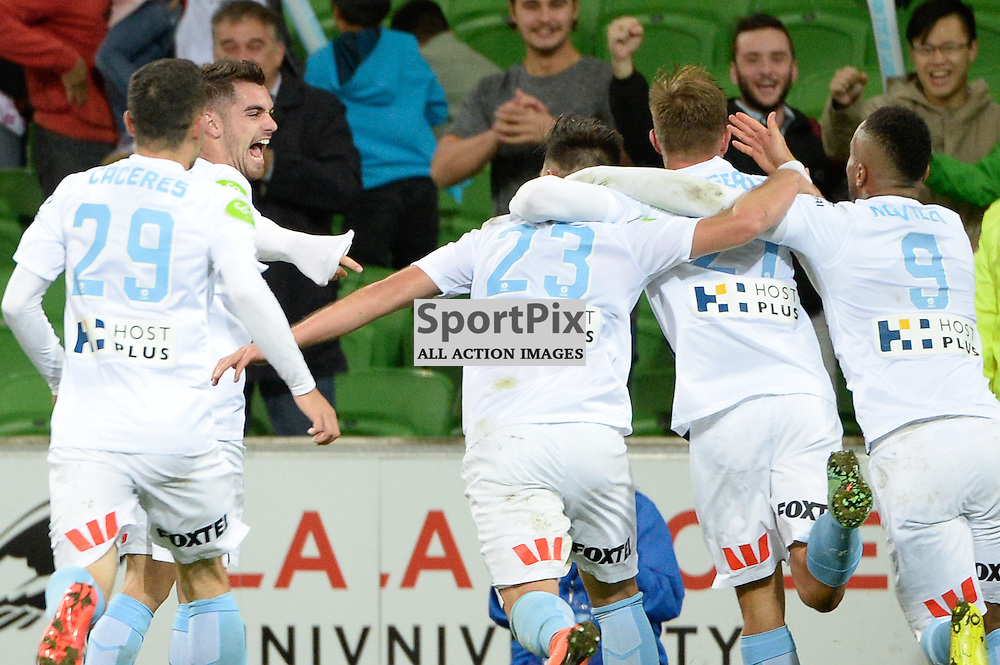 Bruno Fornaroli of Melbourne City celebrates his assist in Nick Fitzgeralds goal with team mates in the dying moments of the Hyundai A-League, March 18th 2016, ROUND 24 - Melbourne City FC v Brisbane Roar FC in a 3:1 win to City after a slow first half at Aami Park, Melbourne Australia. © Mark Avellino | SportPix.org.uk