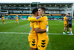 Marcus Watson and Owain James of Wasps celebrate victory over Northampton Saints - Mandatory by-line: Robbie Stephenson/JMP - 28/09/2019 - RUGBY - Franklin's Gardens - Northampton, England - Northampton Saints v Wasps - Premiership Rugby Cup
