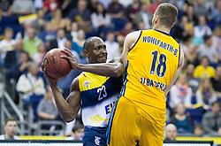 Berlin, Germany, 15.05.2015:<br />Basketball Bundesliga Playoffs Viertelfinale 3. Spiel 2014 / 2015 - ALBA Berlin - EWE Baskets Oldenburg.<br /><br />Rickey Paulding (Oldenburg #23)  -  Jonas Wohlfarth-Bottermann (Alba #18) *** Local Caption *** © pixathlon