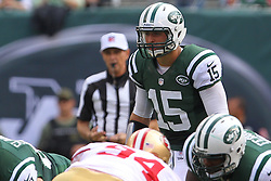 Sept 30, 2012; East Rutherford, NJ, USA; New York Jets quarterback Tim Tebow (15) during the first half of their game against the San Francisco 49ers at MetLIfe Stadium.