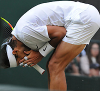 Tennis - 2019 Wimbledon Championships - Week Two, Friday (Day Eleven)<br /> <br /> Men's Singles, Semi-Final: Rafael Nadal (ESP) v Roger Federer (SUI)<br /> <br /> Rafael Nadal covers his face after missing a great chance to break Roger in the last game on Centre Court.<br /> <br /> COLORSPORT/ANDREW COWIE