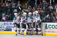 KELOWNA, CANADA - APRIL 18: Ryan Olsen #27, Rourke Chartier #14, Riley Stadel #3, Nick Merkley #10 and Damon Severson #7 of the Kelowna Rockets celebrates a goal with fans against the Portland Winterhawks on April 18, 2014 during Game 1 of the third round of WHL Playoffs at Prospera Place in Kelowna, British Columbia, Canada.   (Photo by Marissa Baecker/Shoot the Breeze)  *** Local Caption *** Riley Stadel; Ryan Olsen; Rourke Chartier; Nick Merkley; Damon Severson;