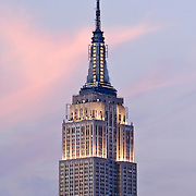 The Empire State Building at Twilight in midtown Manhattan, New York City, NY