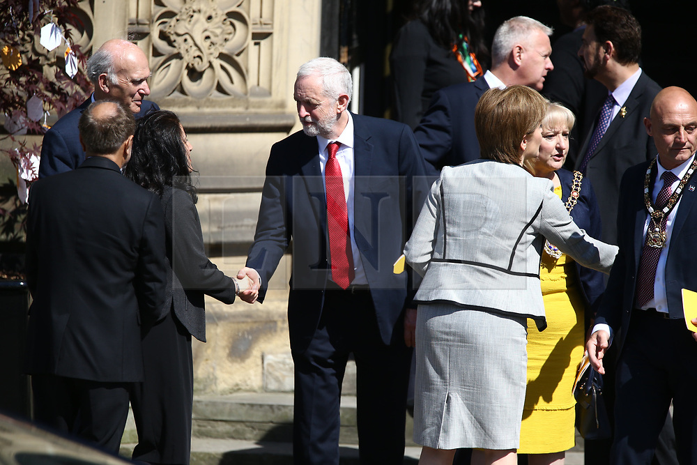 © Licensed to London News Pictures. 22/05/2018. Manchester, UK. Picture shows Jeremy Corbyn at the memorial service at Manchester cathedral. Today marks the first anniversary of the Manchester Arena bombing. 22 people died when Salman Abedi detonated a bomb at an Ariana Grande concert. Photo credit: Andrew McCaren/LNP