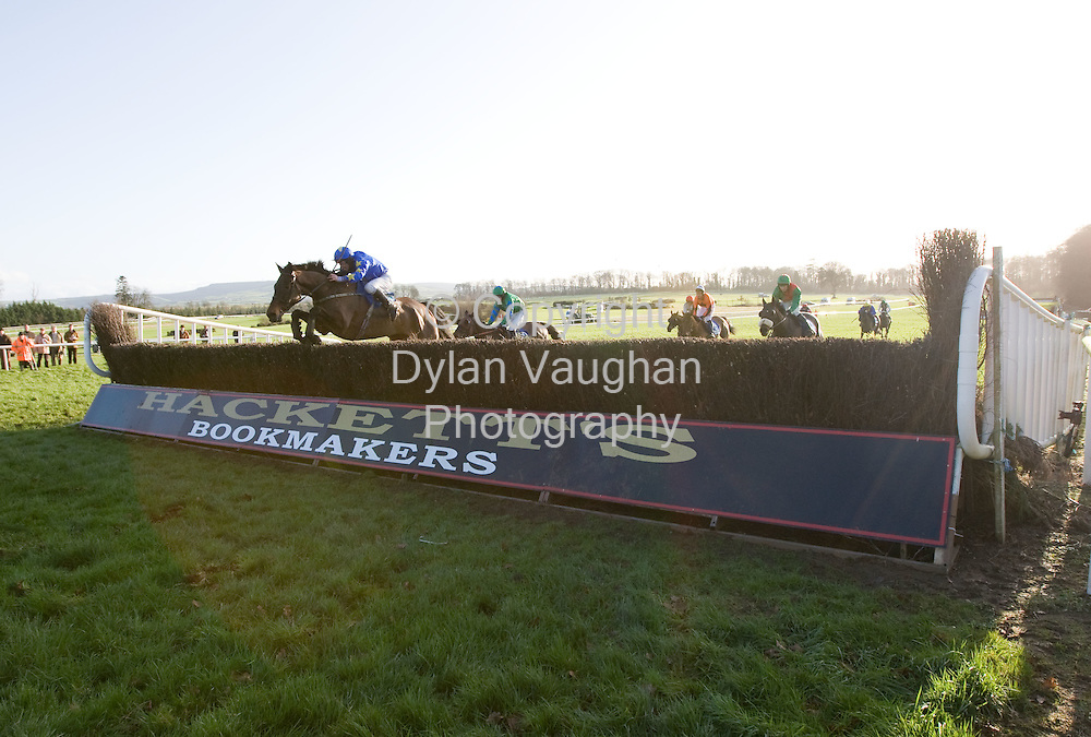 """24/1/2008.Over 8,000 fans from across the region attended Thyestes race day at Gowran Park Golf and Race Course..Pictured jumping the last on the way to winning The Ellen Construction Thyestes Handicap Steeplechase  of EUR100,000 was P.T Enright on """"Preist Leap""""..Picture Dylan Vaughan."""