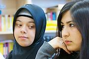 """Vienna. Islamic Gymnasium Vienna(Islamisches Realgymnasium Wien). Girls wearing """"Hijabs"""" (headscarfs)."""