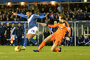 Ipswich Town striker Brett Pitman attempts to tackle Birmingham City midfielder David Davis during the Sky Bet Championship match between Birmingham City and Ipswich Town at St Andrews, Birmingham, England on 23 January 2016. Photo by Alan Franklin.