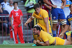 Jaguares captain Agustin Creevy  scores the first try during the Super Rugby match between DHL Stormers and Jaguares held at DHL Newlands in Cape Town, South Africa on the 4th March 2017.<br /> <br /> Photo by Ron Gaunt/Villar Press