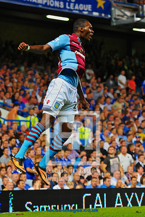 Picture by Ian Wadkins/Focus Images Ltd +44 7877 568959<br /> 21/08/2013<br /> Christian Benteke of Aston Villa celebrates after making it 1-1 during the Barclays Premier League match at Stamford Bridge, London.