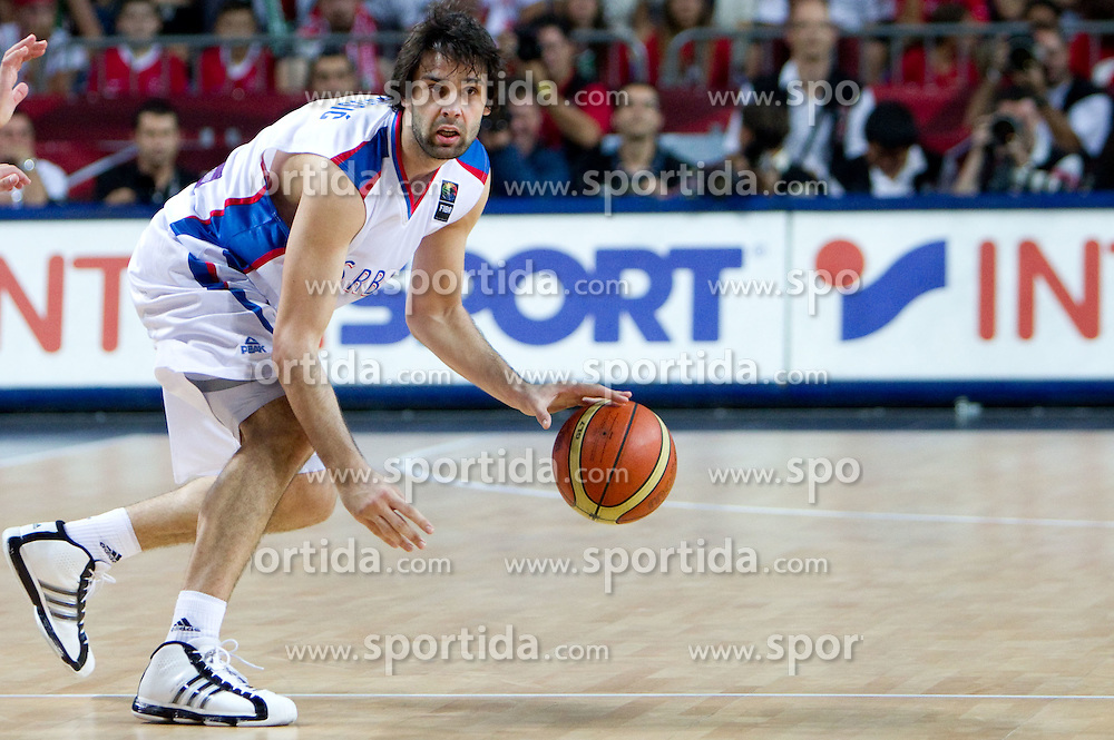 Milos Teodosic of Serbia during the second semifinal basketball match between National teams of Serbia and Turkey at 2010 FIBA World Championships on September 11, 2010 at the Sinan Erdem Dome in Istanbul, Turkey. Turkey defeated Serbia 83 - 82 and qualified to finals.  (Photo By Vid Ponikvar / Sportida.com)
