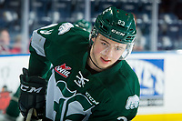 KELOWNA, CANADA - FEBRUARY 2: Jake Christiansen #23 of the Everett Silvertips warms up against the Kelowna Rockets  on FEBRUARY 2, 2018 at Prospera Place in Kelowna, British Columbia, Canada.  (Photo by Marissa Baecker/Shoot the Breeze)  *** Local Caption ***