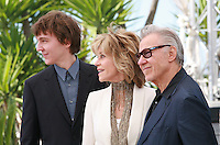 Actor Paul Dano, Actress Jane Fonda, Actor Harvey Keitel at the Youth film photo call at the 68th Cannes Film Festival Tuesday May 20th 2015, Cannes, France.