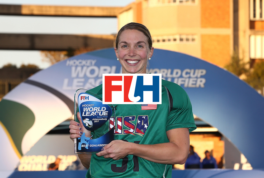 JOHANNESBURG, SOUTH AFRICA - JULY 23:  Jackie Briggs, goalkeeper of United States of America poses with the best goalkeeper award during day 9 of the FIH Hockey World League Women's Semi Finals at Wits University on July 23, 2017 in Johannesburg, South Africa.  (Photo by Jan Kruger/Getty Images for FIH)